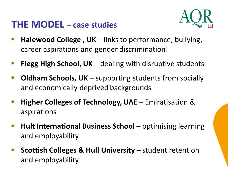 THE MODEL – case studies  Halewood College, UK – links to performance, bullying, career aspirations and gender discrimination!  Flegg High School, U