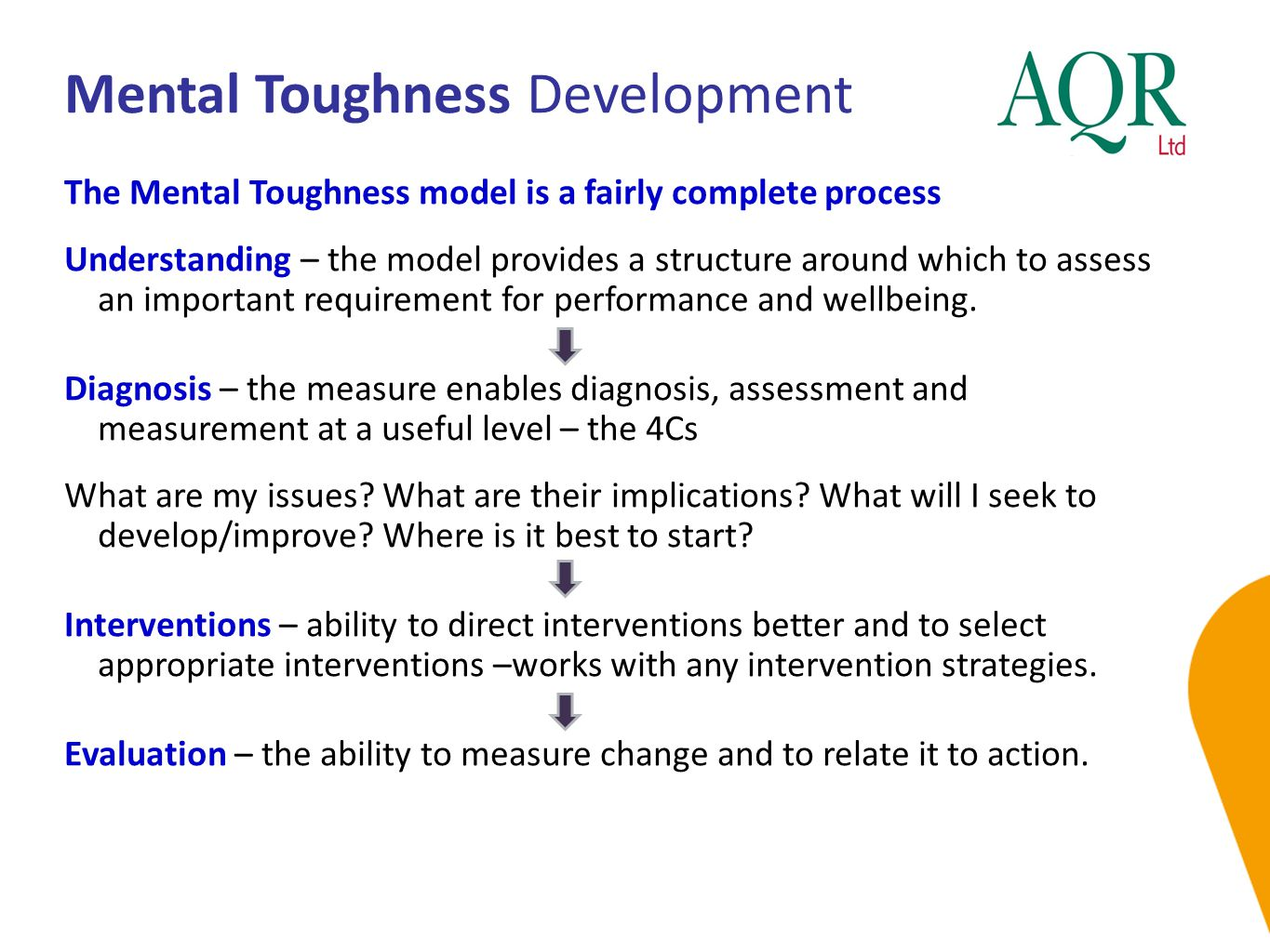 Mental Toughness Development The Mental Toughness model is a fairly complete process Understanding – the model provides a structure around which to as