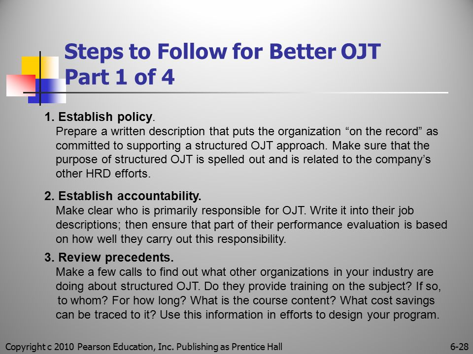 Copyright c 2010 Pearson Education, Inc. Publishing as Prentice Hall6-28 Steps to Follow for Better OJT Part 1 of 4 1. Establish policy. Prepare a wri