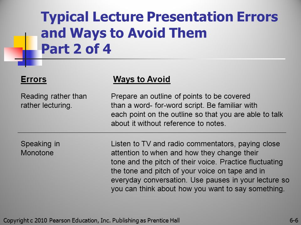 Copyright c 2010 Pearson Education, Inc. Publishing as Prentice Hall6-6 Typical Lecture Presentation Errors and Ways to Avoid Them Part 2 of 4 Errors