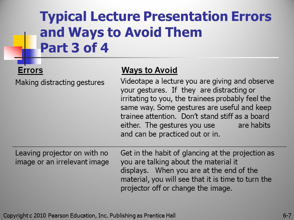 Copyright c 2010 Pearson Education, Inc. Publishing as Prentice Hall6-7 Typical Lecture Presentation Errors and Ways to Avoid Them Part 3 of 4 Errors