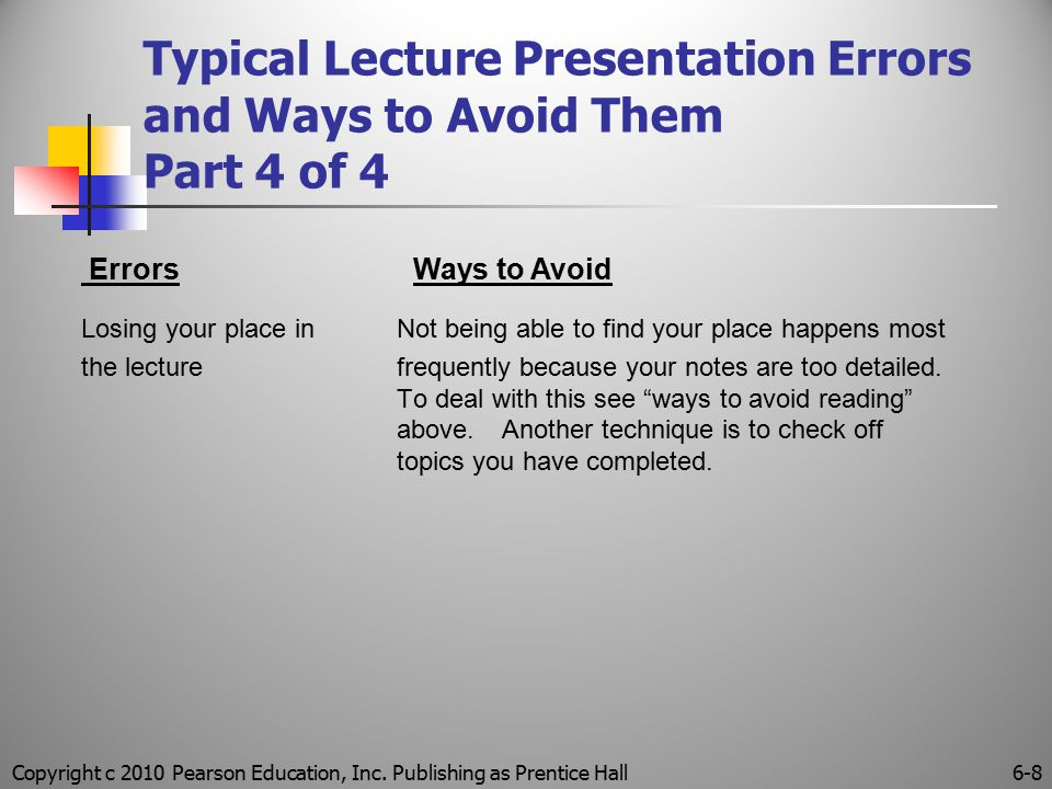 Typical Lecture Presentation Errors and Ways to Avoid Them Part 4 of 4 Losing your place in Not being able to find your place happens most the lecture