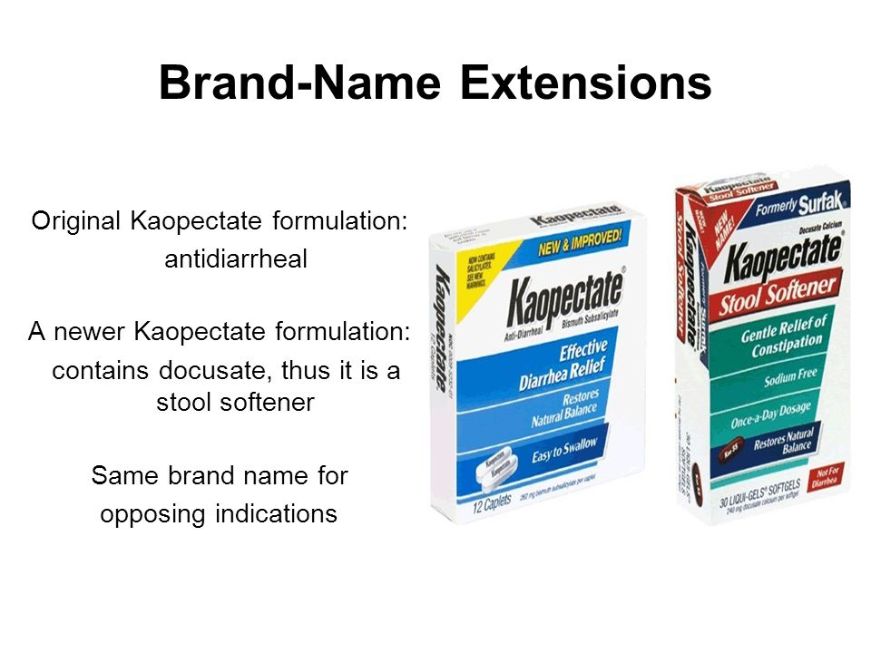 Brand-Name Extensions Original Kaopectate formulation: antidiarrheal A newer Kaopectate formulation: contains docusate, thus it is a stool softener Sa