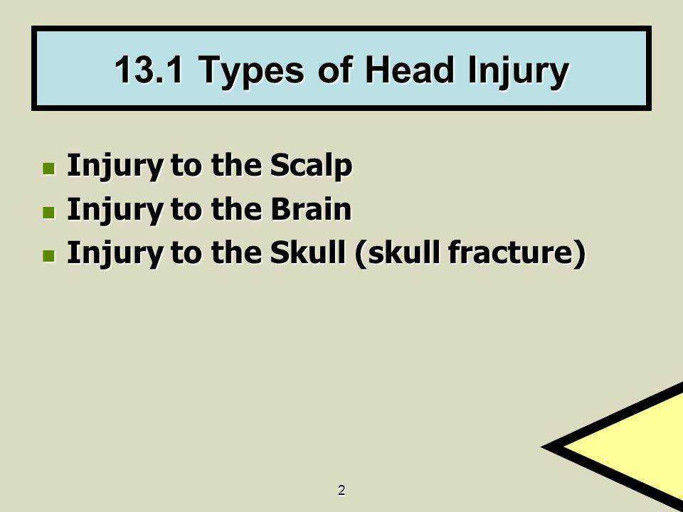 2 13.1 Types of Head Injury Injury to the Scalp Injury to the Scalp Injury to the Brain Injury to the Brain Injury to the Skull (skull fracture) Injur