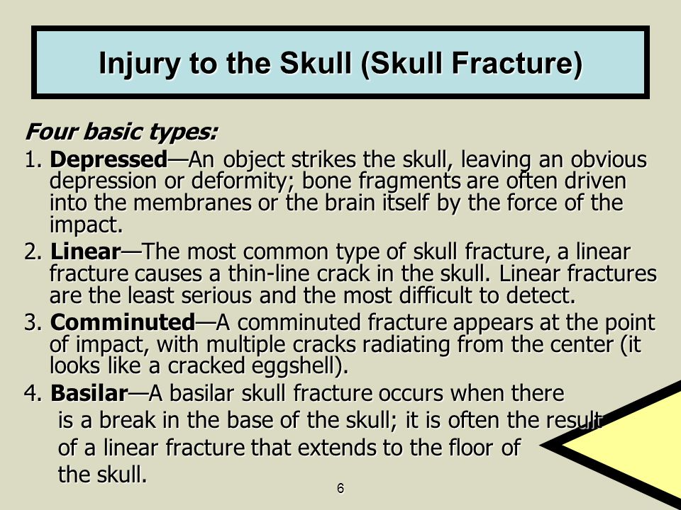 6 Injury to the Skull (Skull Fracture) Four basic types: 1. Depressed—An object strikes the skull, leaving an obvious depression or deformity; bone fr