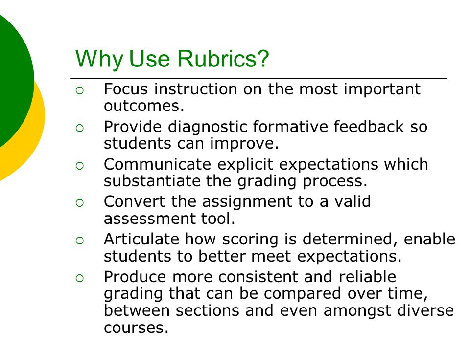 Why Use Rubrics?  Focus instruction on the most important outcomes.  Provide diagnostic formative feedback so students can improve.  Communicate ex