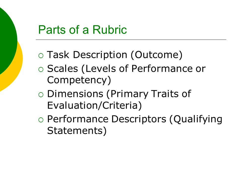 Parts of a Rubric  Task Description (Outcome)  Scales (Levels of Performance or Competency)  Dimensions (Primary Traits of Evaluation/Criteria)  Performance Descriptors (Qualifying Statements)
