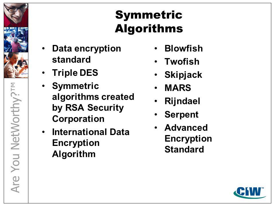 Symmetric Algorithms Data encryption standard Triple DES Symmetric algorithms created by RSA Security Corporation International Data Encryption Algorithm Blowfish Twofish Skipjack MARS Rijndael Serpent Advanced Encryption Standard
