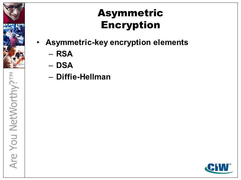 Asymmetric Encryption Asymmetric-key encryption elements –RSA –DSA –Diffie-Hellman