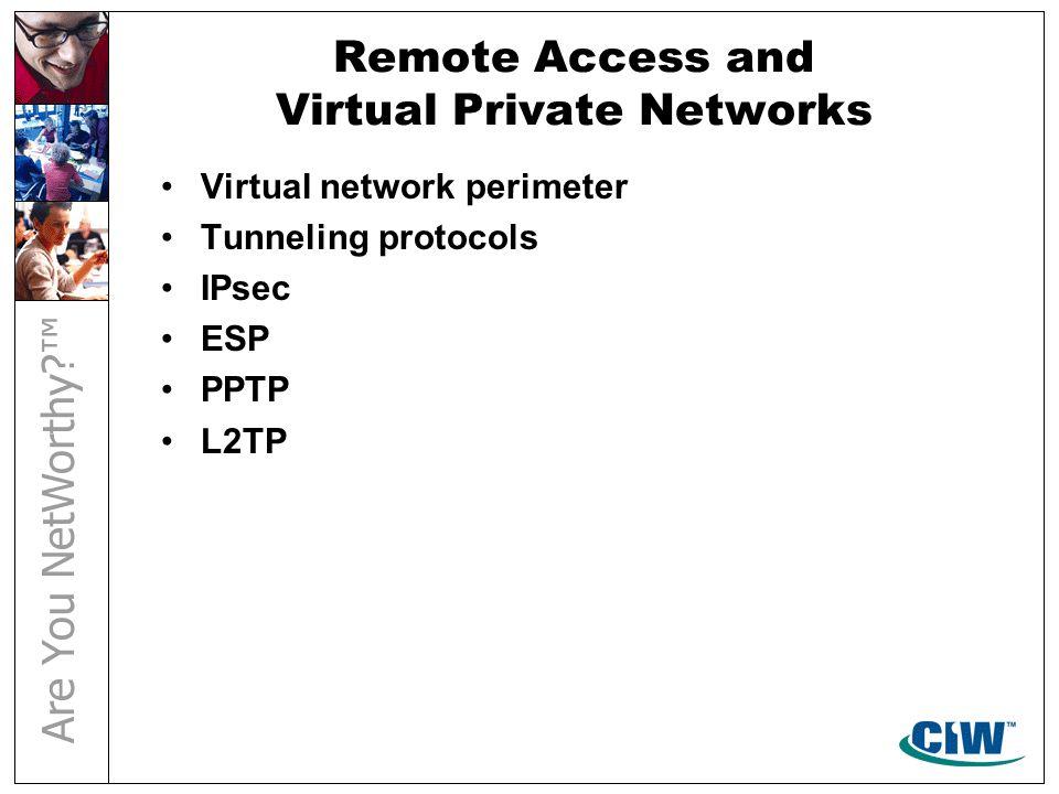 Remote Access and Virtual Private Networks Virtual network perimeter Tunneling protocols IPsec ESP PPTP L2TP