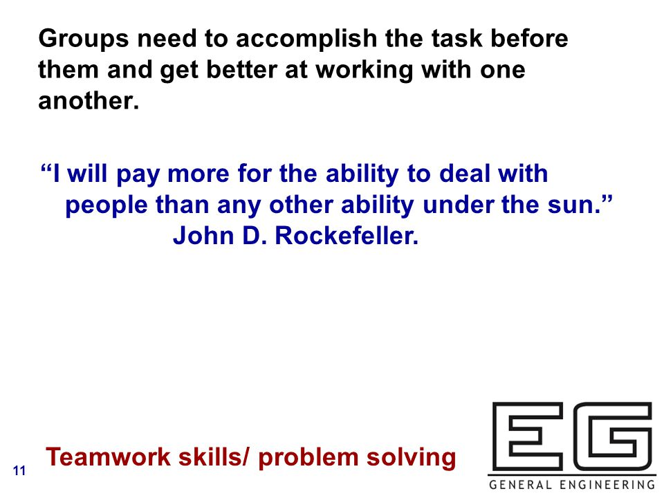 11 Groups need to accomplish the task before them and get better at working with one another.