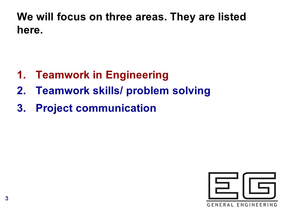 3 We will focus on three areas. They are listed here.