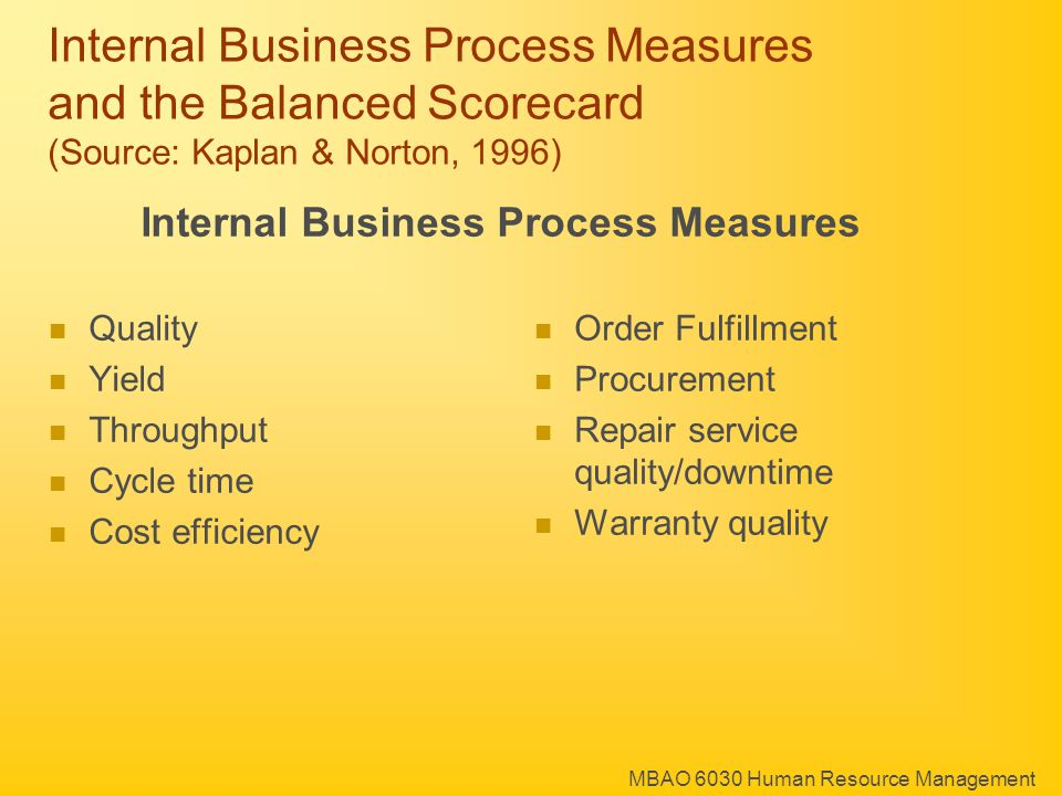 MBAO 6030 Human Resource Management Internal Business Process Measures and the Balanced Scorecard (Source: Kaplan & Norton, 1996) Internal Business Process Measures Quality Yield Throughput Cycle time Cost efficiency Order Fulfillment Procurement Repair service quality/downtime Warranty quality
