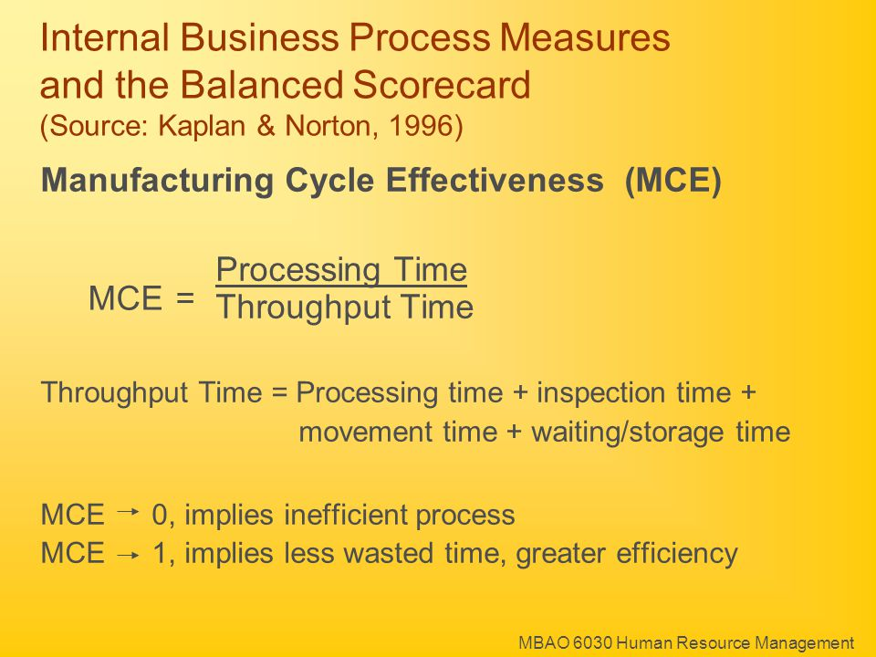 MBAO 6030 Human Resource Management Manufacturing Cycle Effectiveness (MCE) Processing Time Throughput Time Throughput Time = Processing time + inspection time + movement time + waiting/storage time MCE 0, implies inefficient process MCE 1, implies less wasted time, greater efficiency Internal Business Process Measures and the Balanced Scorecard (Source: Kaplan & Norton, 1996) MCE =