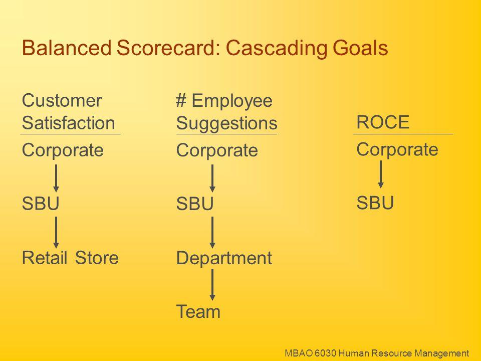 MBAO 6030 Human Resource Management Balanced Scorecard: Cascading Goals # Employee Suggestions Corporate SBU Department Team ROCE Corporate SBU Customer Satisfaction Corporate SBU Retail Store