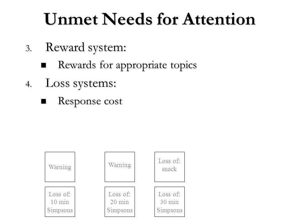 Unmet Needs for Attention 3. Reward system: Rewards for appropriate topics Rewards for appropriate topics 4. Loss systems: Response cost Response cost