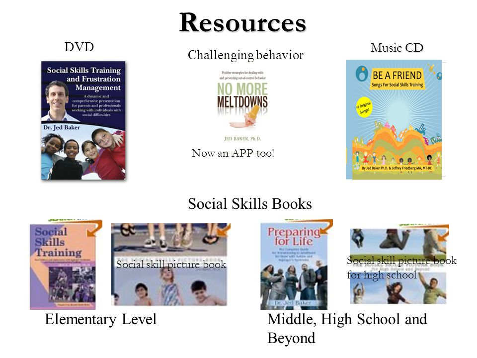 Resources Music CD Social Skills Books Elementary LevelMiddle, High School and Beyond Challenging behavior DVD Now an APP too! Social skill picture bo