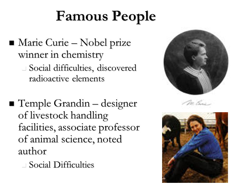 Marie Curie – Nobel prize winner in chemistry Marie Curie – Nobel prize winner in chemistry Social difficulties, discovered radioactive elements Socia