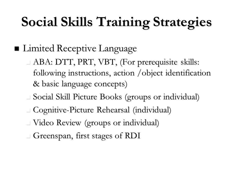 Social Skills Training Strategies Limited Receptive Language Limited Receptive Language ABA: DTT, PRT, VBT, (For prerequisite skills: following instru