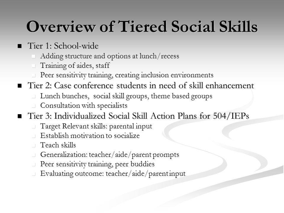 Overview of Tiered Social Skills Tier 1: School-wide Tier 1: School-wide Adding structure and options at lunch/recess Adding structure and options at