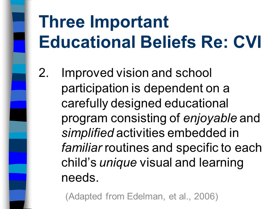 Three Important Educational Beliefs Re: CVI 2.Improved vision and school participation is dependent on a carefully designed educational program consisting of enjoyable and simplified activities embedded in familiar routines and specific to each child's unique visual and learning needs.