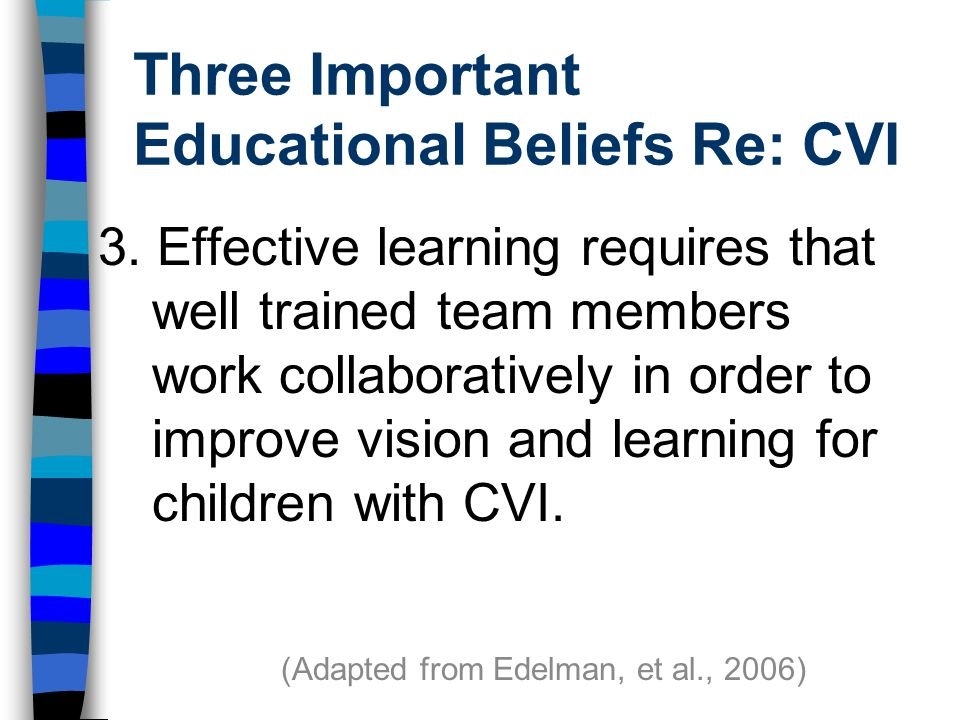 Three Important Educational Beliefs Re: CVI 3.