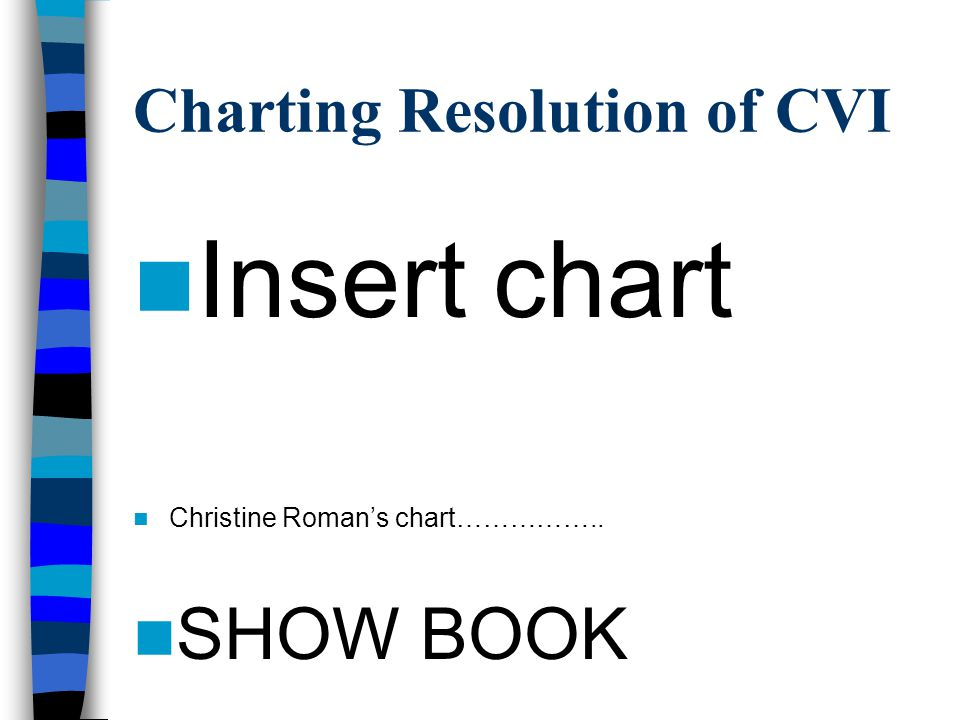Charting Resolution of CVI Insert chart Christine Roman's chart…………….. SHOW BOOK