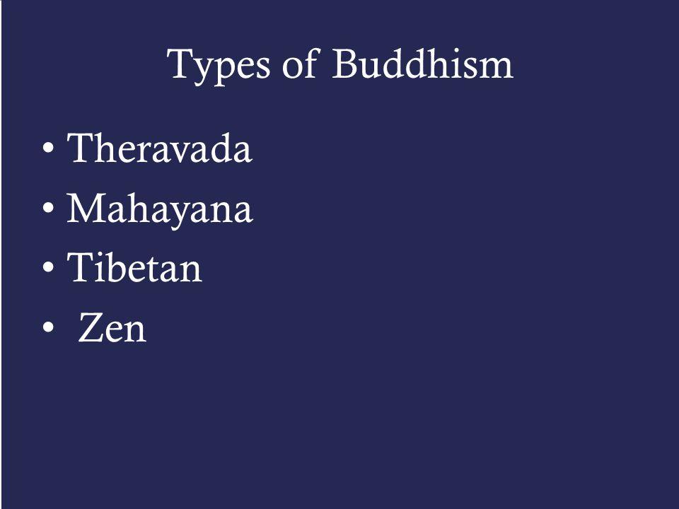 Types of Buddhism Theravada Mahayana Tibetan Zen