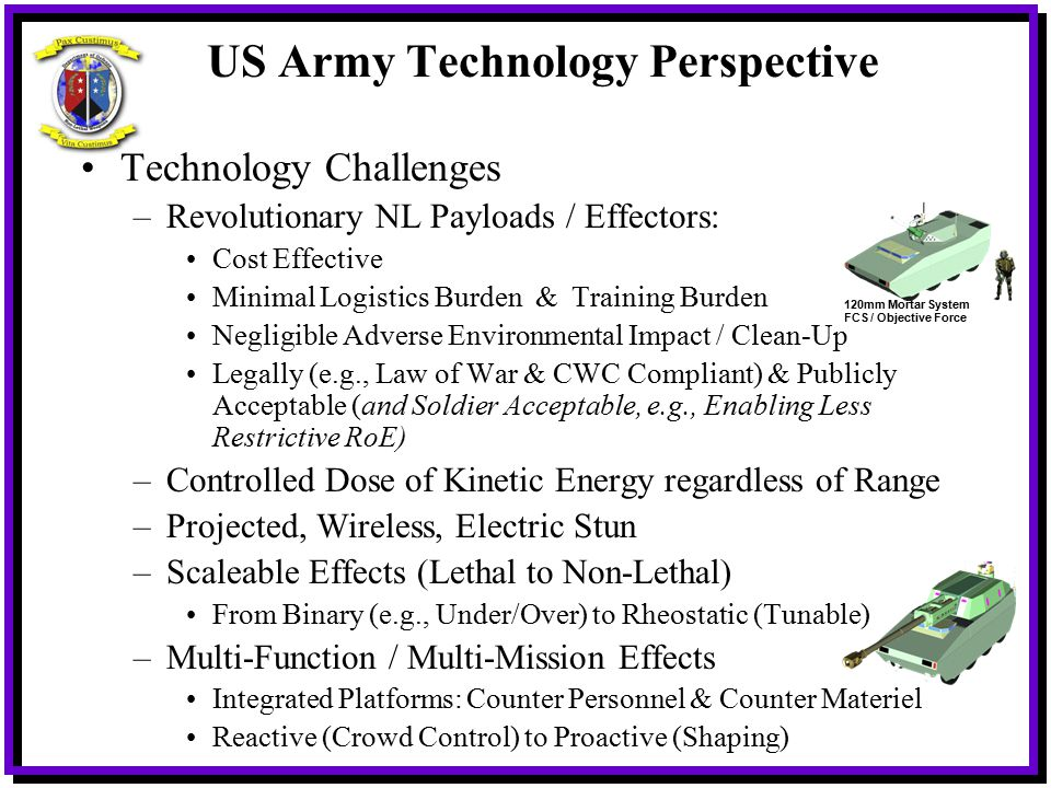 US Army Technology Perspective Technology Challenges –Revolutionary NL Payloads / Effectors: Cost Effective Minimal Logistics Burden & Training Burden