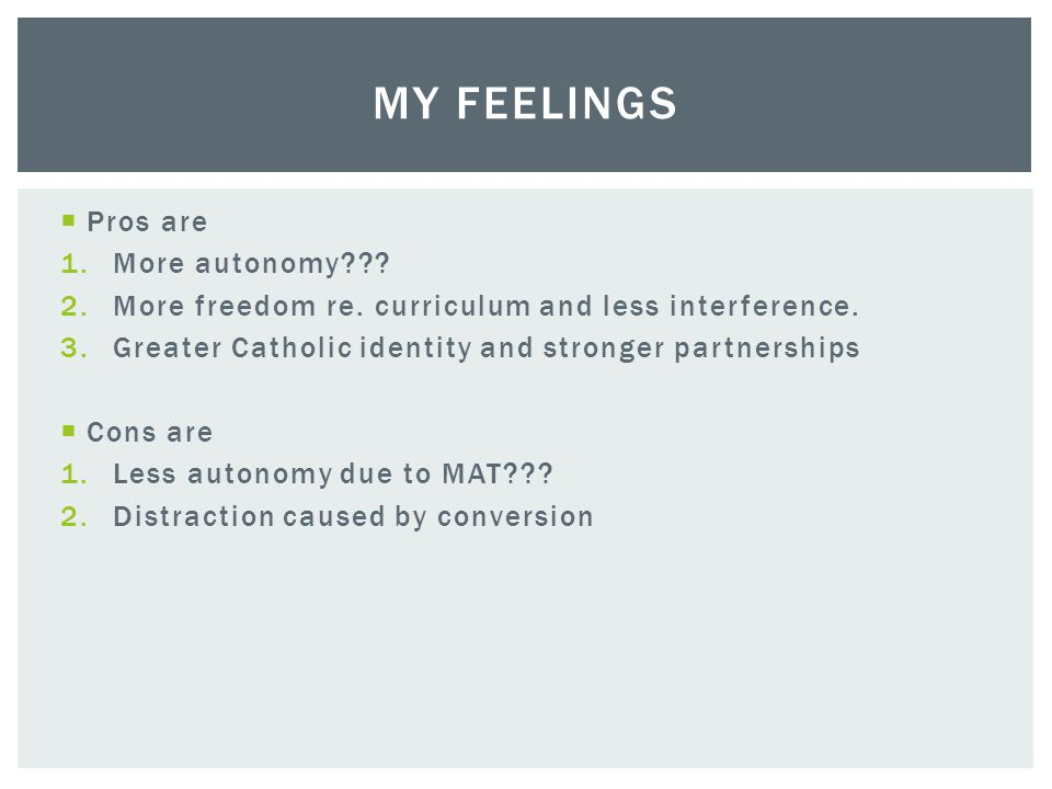  Pros are 1.More autonomy . 2.More freedom re. curriculum and less interference.