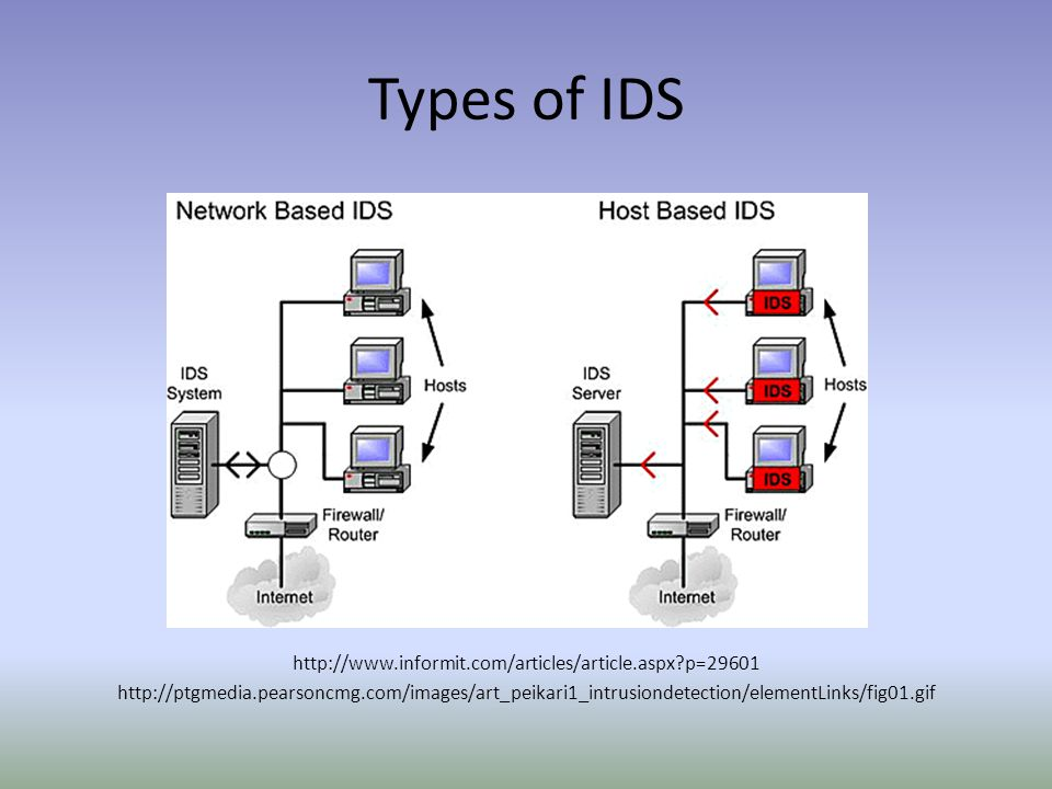 Types of IDS http://www.informit.com/articles/article.aspx p=29601 http://ptgmedia.pearsoncmg.com/images/art_peikari1_intrusiondetection/elementLinks/fig01.gif