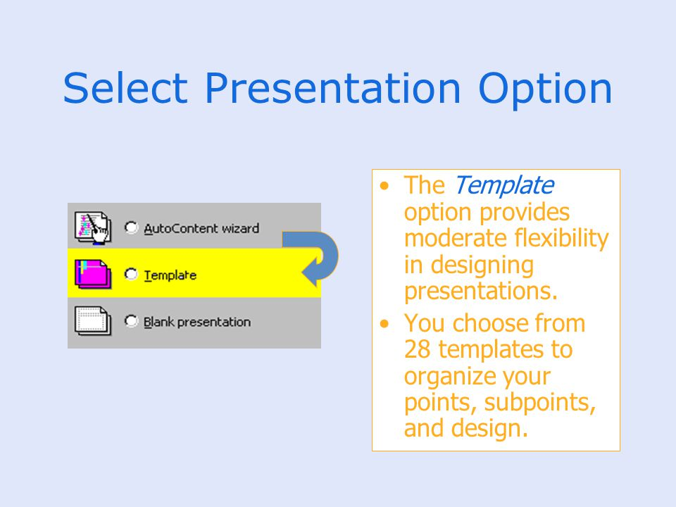 Select Presentation Option The Template option provides moderate flexibility in designing presentations. You choose from 28 templates to organize your