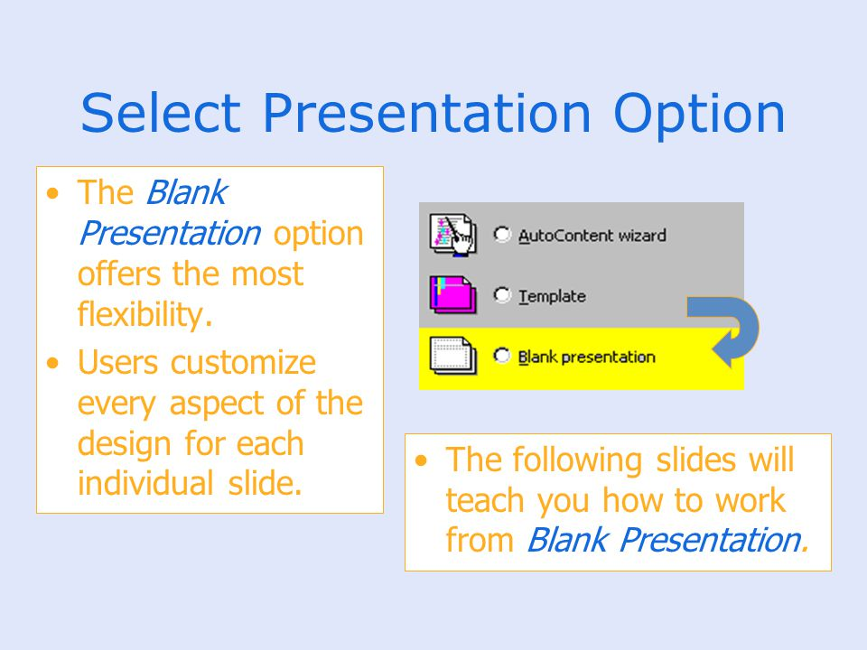 Select Presentation Option The Blank Presentation option offers the most flexibility. Users customize every aspect of the design for each individual s