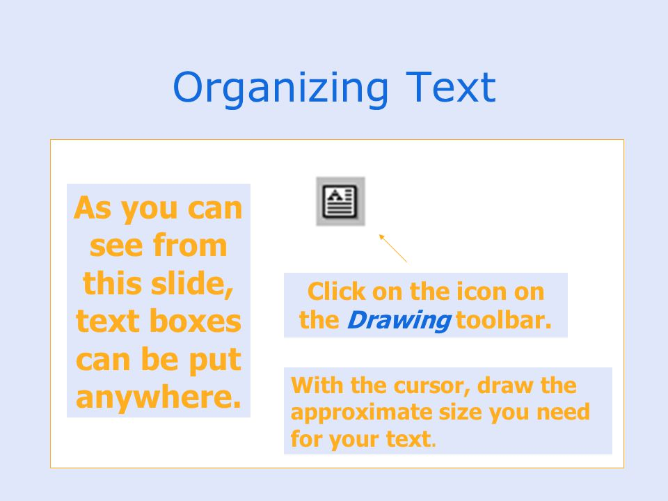 Organizing Text As you can see from this slide, text boxes can be put anywhere. Click on the icon on the Drawing toolbar. With the cursor, draw the ap