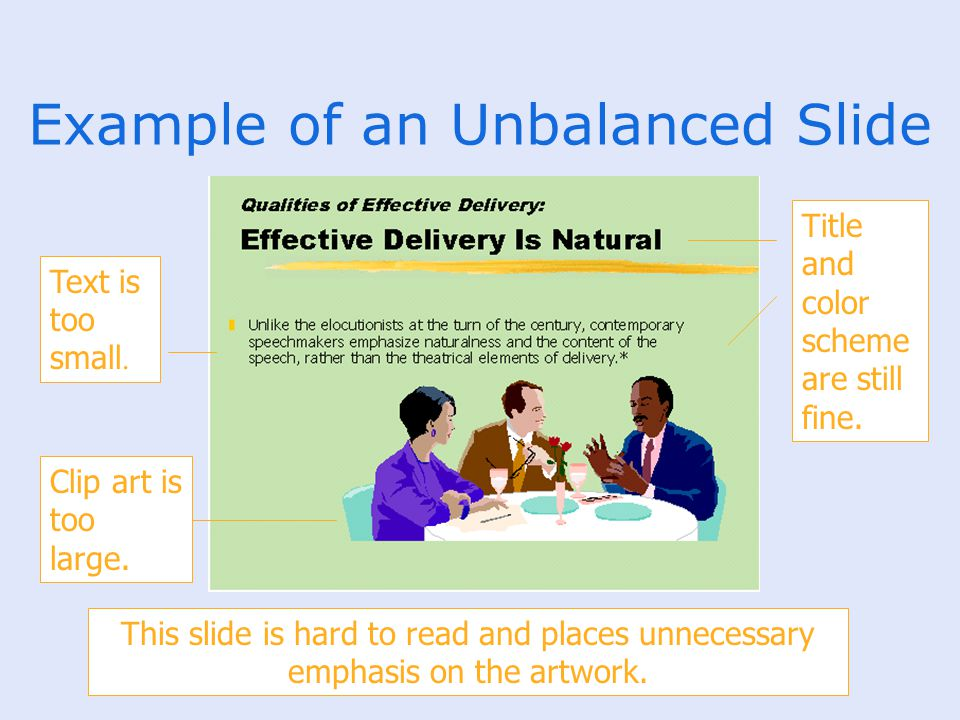 Example of an Unbalanced Slide Title and color scheme are still fine. Text is too small. Clip art is too large. This slide is hard to read and places