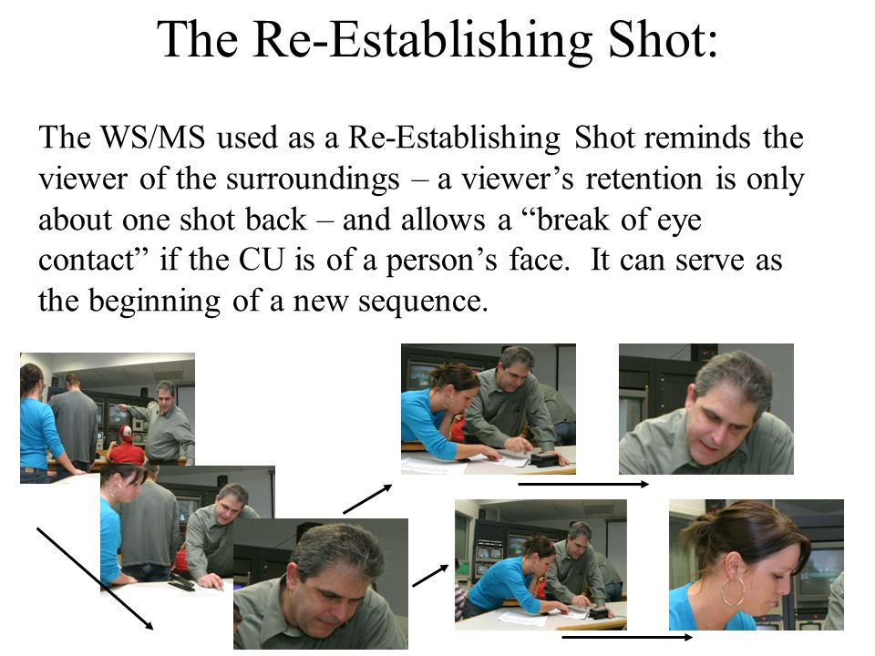 The Re-Establishing Shot: The WS/MS used as a Re-Establishing Shot reminds the viewer of the surroundings – a viewer's retention is only about one shot back – and allows a break of eye contact if the CU is of a person's face.