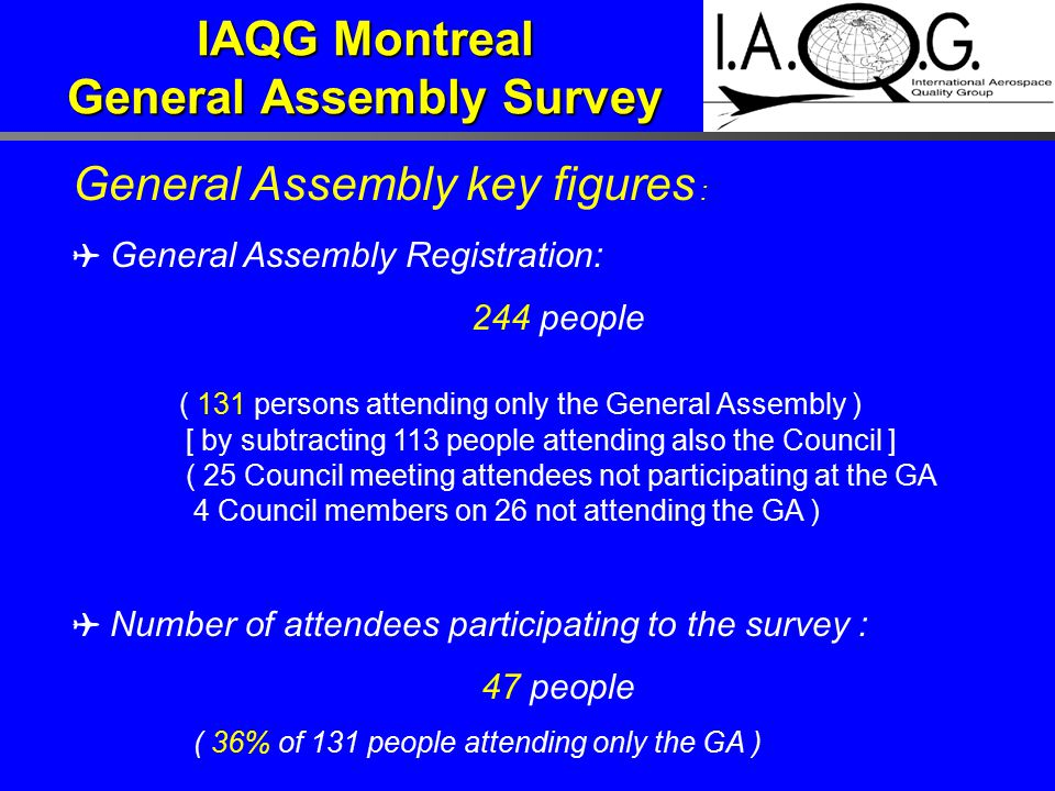 IAQG Montreal General Assembly Survey General Assembly key figures : ✈ General Assembly Registration: 244 people ( 131 persons attending only the Gene