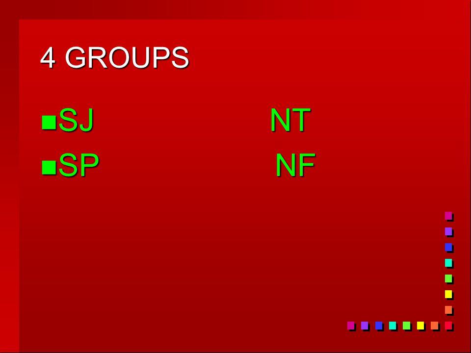 4 GROUPS n SJ NT n SP NF