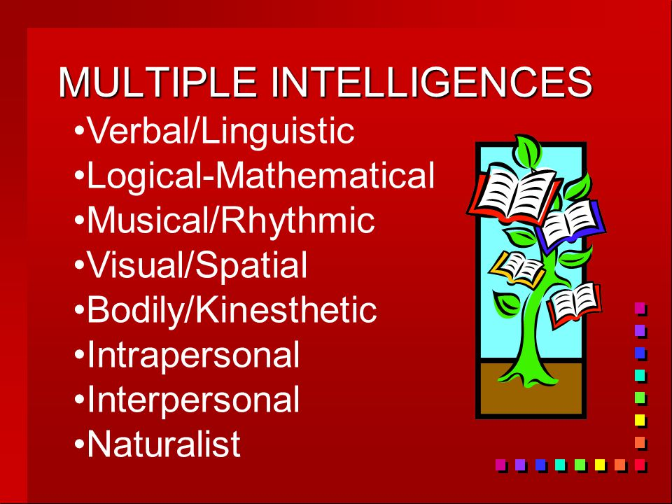 MULTIPLE INTELLIGENCES Verbal/Linguistic Logical-Mathematical Musical/Rhythmic Visual/Spatial Bodily/Kinesthetic Intrapersonal Interpersonal Naturalist