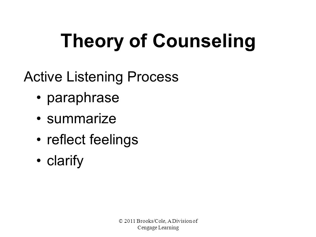 © 2011 Brooks/Cole, A Division of Cengage Learning Theory of Counseling Active Listening Process paraphrase summarize reflect feelings clarify