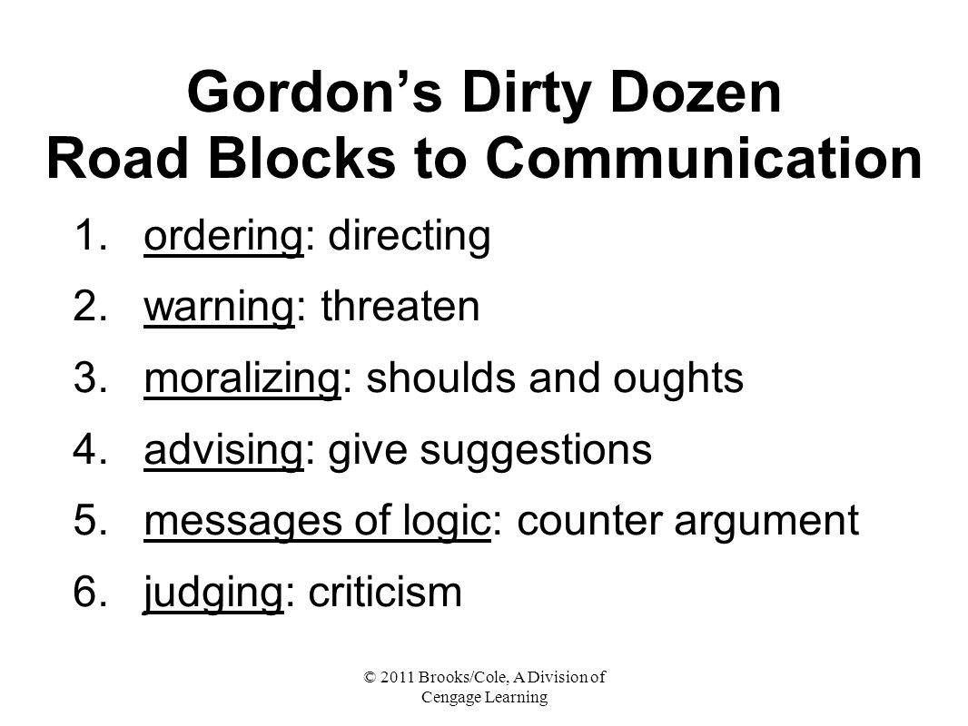 © 2011 Brooks/Cole, A Division of Cengage Learning Gordon's Dirty Dozen Road Blocks to Communication 1.ordering: directing 2.warning: threaten 3.moralizing: shoulds and oughts 4.advising: give suggestions 5.messages of logic: counter argument 6.judging: criticism