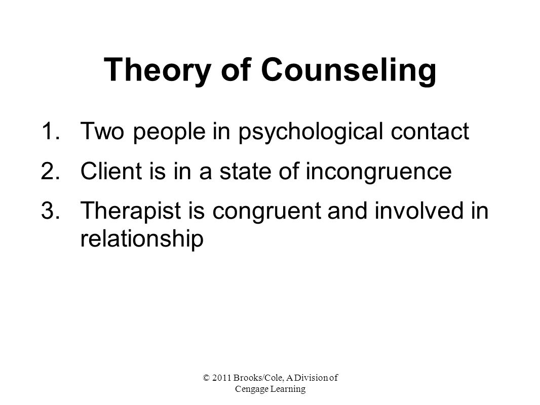 © 2011 Brooks/Cole, A Division of Cengage Learning Theory of Counseling 1.Two people in psychological contact 2.Client is in a state of incongruence 3.Therapist is congruent and involved in relationship
