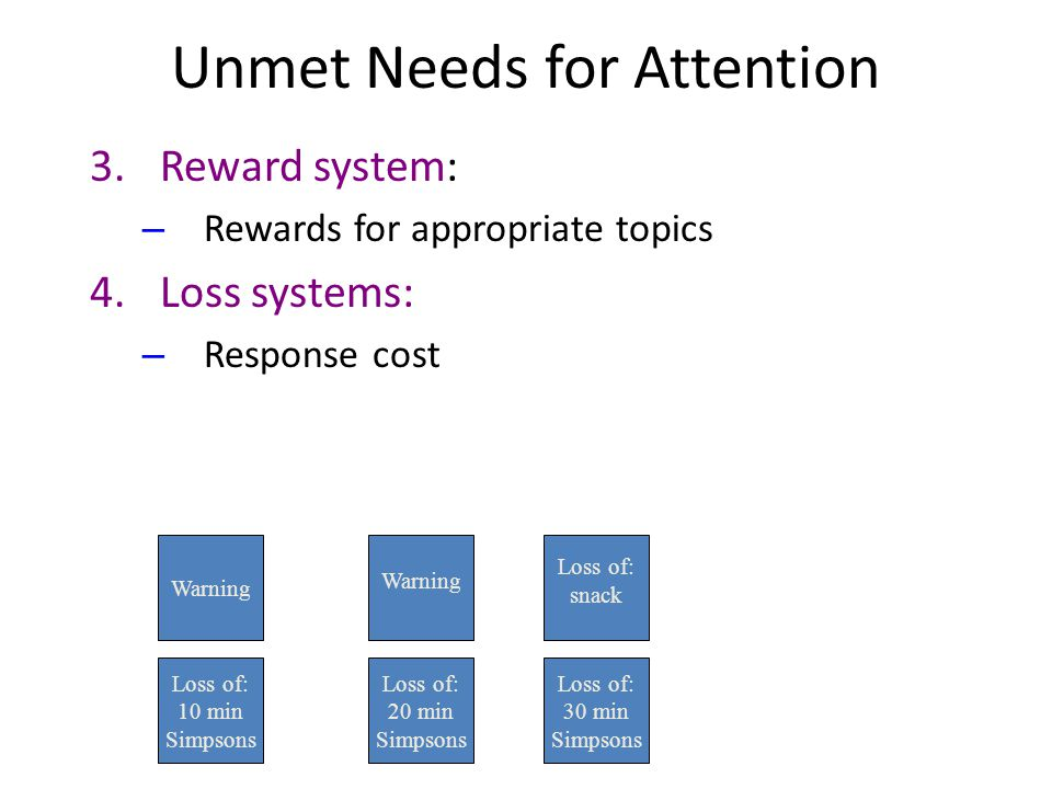 Unmet Needs for Attention 3.Reward system: – Rewards for appropriate topics 4.Loss systems: – Response cost Warning Loss of: 10 min Simpsons Warning Loss of: snack Loss of: 20 min Simpsons Loss of: 30 min Simpsons