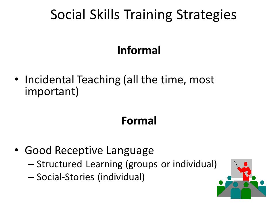 Social Skills Training Strategies Informal Incidental Teaching (all the time, most important) Formal Good Receptive Language – Structured Learning (groups or individual) – Social-Stories (individual)