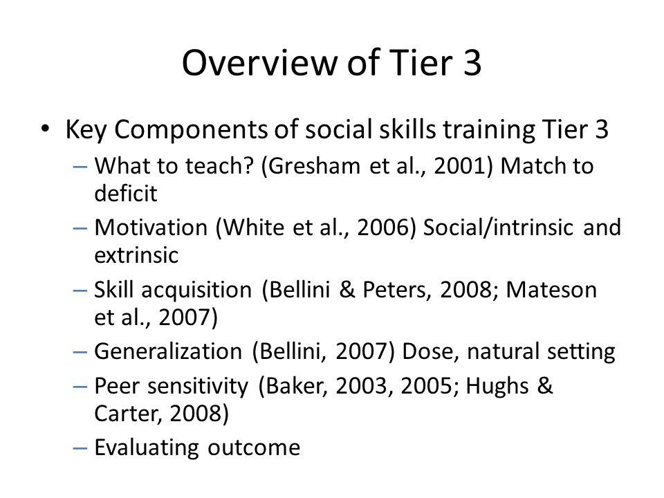 Overview of Tier 3 Key Components of social skills training Tier 3 – What to teach? (Gresham et al., 2001) Match to deficit – Motivation (White et al.