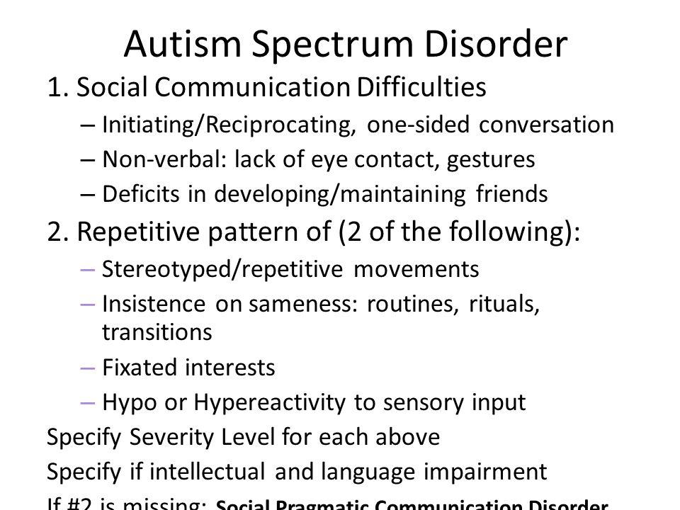 Autism Spectrum Disorder 1.