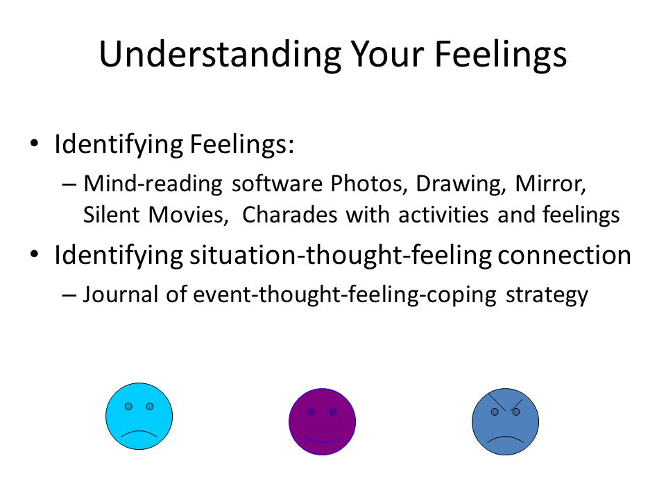Understanding Your Feelings Identifying Feelings: – Mind-reading software Photos, Drawing, Mirror, Silent Movies, Charades with activities and feelings Identifying situation-thought-feeling connection – Journal of event-thought-feeling-coping strategy