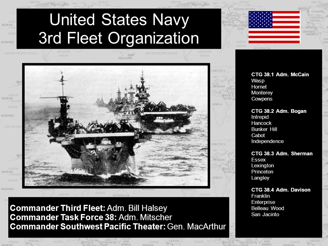 Commander Third Fleet: Adm. Bill Halsey Commander Task Force 38: Adm. Mitscher Commander Southwest Pacific Theater: Gen. MacArthur CTG 38.1 Adm. McCai