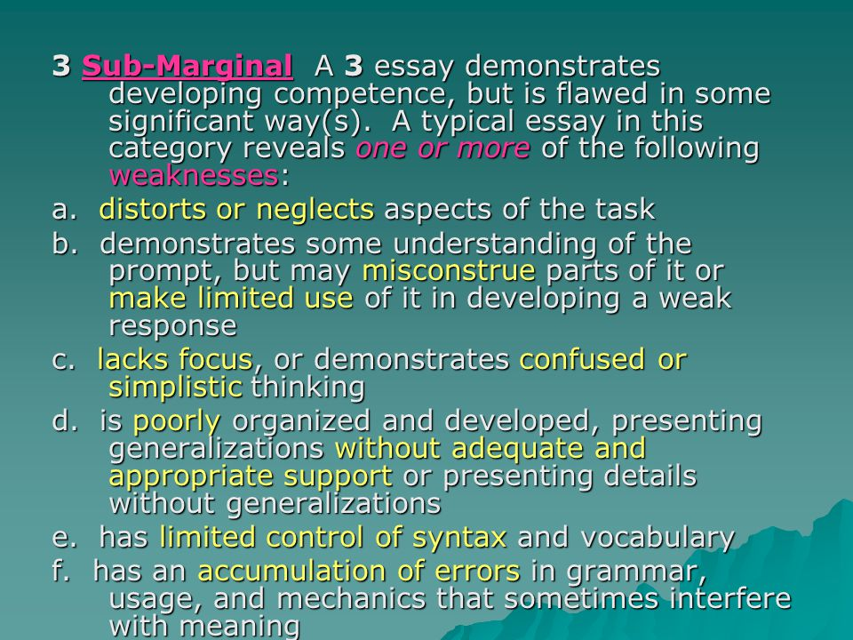 3 Sub-Marginal A 3 essay demonstrates developing competence, but is flawed in some significant way(s).