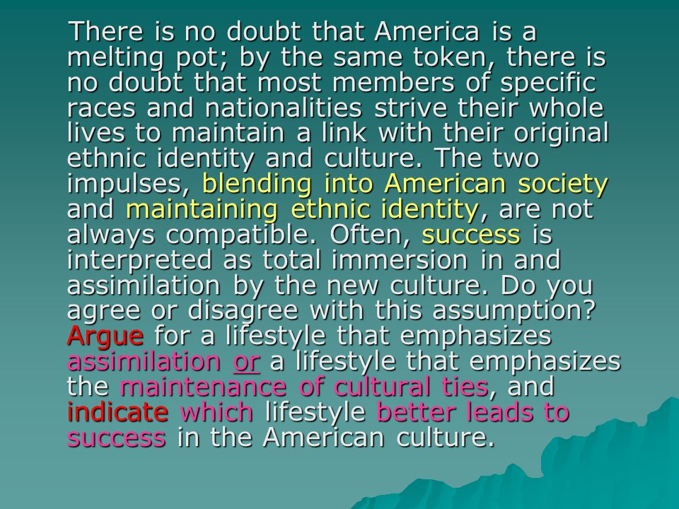There is no doubt that America is a melting pot; by the same token, there is no doubt that most members of specific races and nationalities strive their whole lives to maintain a link with their original ethnic identity and culture.